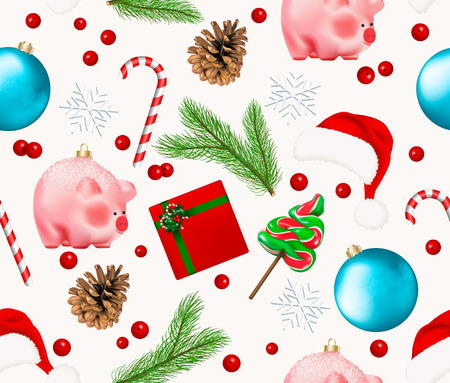 Seamless pattern with winter holiday decor. Set of Christmas Bauble, snowflakes, pig chinese new year symbol, pine branch and cone, red berries, candies fir tree lollipop and cane. Realistic Vector.