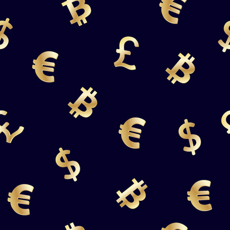 Seamless pattern with World currencies Dollar, Euro, Pound sterling and cryptocurrency Bitcoin golden symbols on dark blue background. Vector illustration. Иллюстрация
