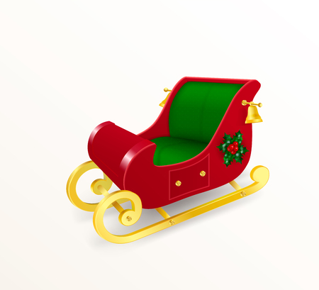 Christmas sleigh of Santa Claus with gold rskids decorated with holly and bells. Realistic Vector Illustration in traditional red and green colors Иллюстрация