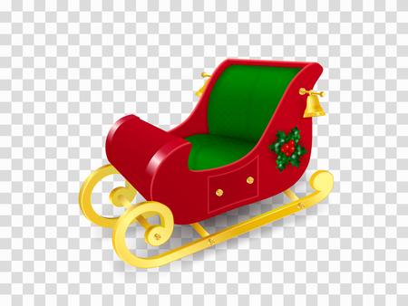 Christmas sleigh of Santa Claus with gold skids decorated with holly leaves and berries and golden bells. Realistic Vector Illustration in traditional colors isolated on transparent background