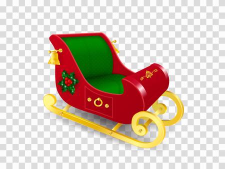 Świąteczne sanie Świętego Mikołaja ze złotymi płozami ozdobionymi liśćmi ostrokrzewu i jagodami, ornamentem i złotymi dzwoneczkami. Realistyczna ilustracja wektorowa w tradycyjnych kolorach na przezroczystym tle