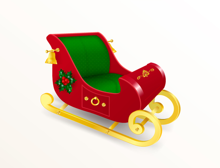 Christmas Santa Claus sleigh with gold skids decorated with holly leaves and berries, ornament and golden bells. Realistic Vector Illustration in traditional colors isolated on white background
