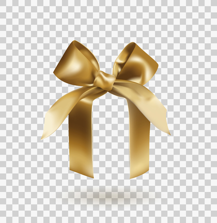 Golden elegant bow with knot on abstract box isolated on transparent background. Realistic vector illustration