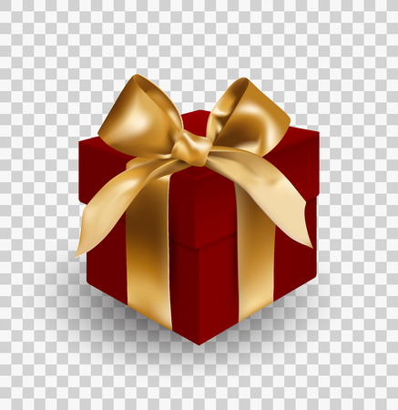 Red gift box bandaged with golden elegant bow with knot. Object isolated on transparent background. Realistic vector illustration Vectores