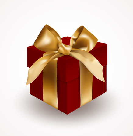 Red gift box bandaged with golden elegant bow with knot. Object isolated on white background. Realistic vector illustration