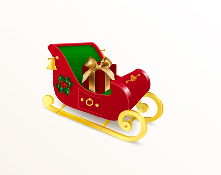 Christmas Santa Claus sleigh with skids decorated with holly plant, ornament and bells with red gift box with bow. Realistic Vector Illustration in traditional colors isolated on white background