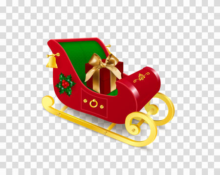 Christmas Santa Claus sleigh with skids decorated with holly plant, ornament, bells with red gift box with bow. Realistic Vector Illustration in traditional colors isolated on transparent background Иллюстрация