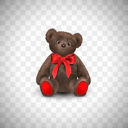 Sitzender flauschiger süßer brauner Teddybär mit roter Schleife. Kinderspielzeug auf transparentem Hintergrund isoliert. Realistische Vektorillustration.
