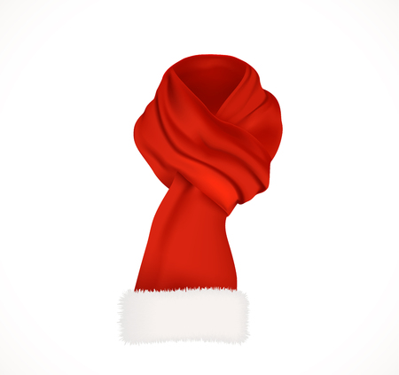 Bright red scarf with white fluffy edging. Santa Claus winter accessory for neck. Realistic vector icon isolated on white background.