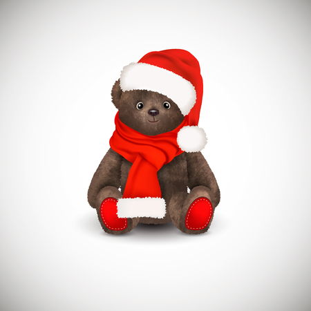 Sitting fluffy cute brown teddy bear with christmas santa claus hat a red long scarf. Childrens toy isolated on white background. Realistic vector illustration Banque d'images - 115235620