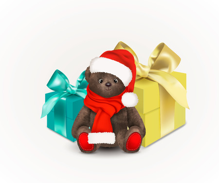 Sitting fluffy cute brown teddy bear with christmas santa claus hat and red long scarf. Children's toy isolated on white background with two gift boxes with bows or ribbons 일러스트
