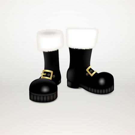 A pair of Santa Claus Christmas black high boots . Realistic vector illustration icon isolated on white background