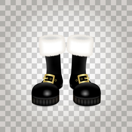 A front side of a pair of Santa Claus Christmas black high boots. Realistic vector illustration icon isolated on transparent background