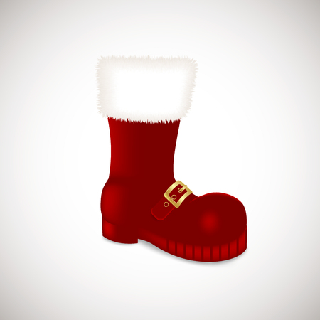 A single Santa Claus Christmas red high boots Realistic vector illustration icon isolated on white background Illustration