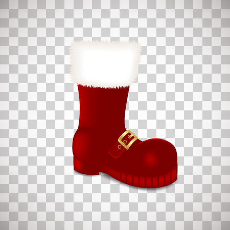 A single Santa Claus Christmas red high boots Realistic vector illustration icon isolated on transparent background