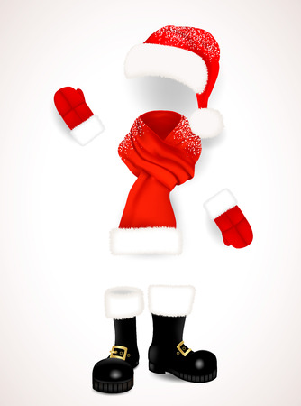 Set of realistic red Santa Claus clothing, hat with fluffy fur pompon, scarf with snow, mittens and black boots isolated on white background. Vector illustration. Illustration