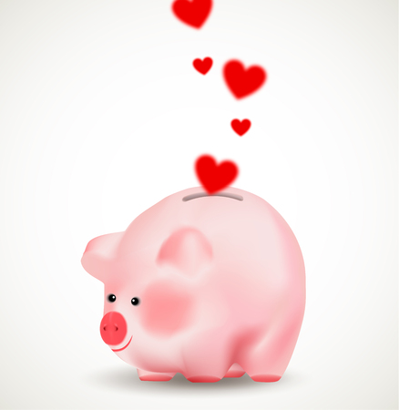 Falling red hearts in a piggy bank. Conceptual realistic vector illustration. Illustration