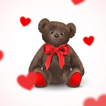 Des coeurs rouges flous volent autour d'un jouet pour enfants ours en peluche cadeau avec un ruban rouge avec un arc. Illustration romantique réaliste