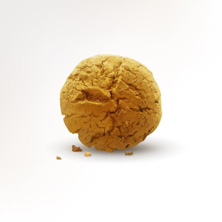 Round cookie with crumbs isolated on white background. Realistic vector illustration