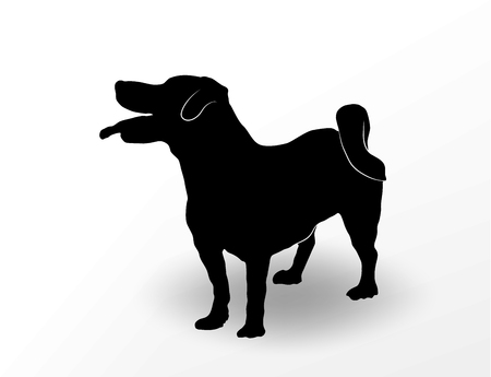 Silhouette of cute dog jack russell terrier standing with open mouth and tongue hanging out and looking up. Curious happy smiling pet. Vector illustration Illustration