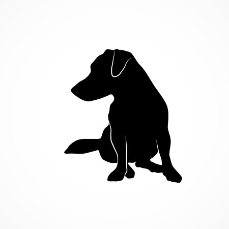 Silhouette of a small dog looking at left side. Jack russell terrier sitting and waiting. Vector illustration