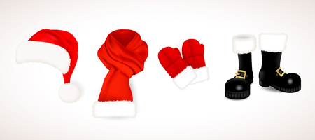 Collection of traditional red Santa Claus clothing, hat with fluffy fur pompon, scarf with snow, mittens and black boots isolated on white background. Vector illustration. Illustration