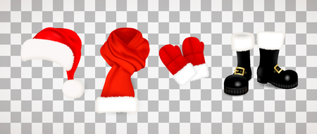 Collection of traditional red Santa Claus clothes, hat with fluffy fur pompon, scarf with snow, mittens and black boots isolated on transparent background. Vector illustration.