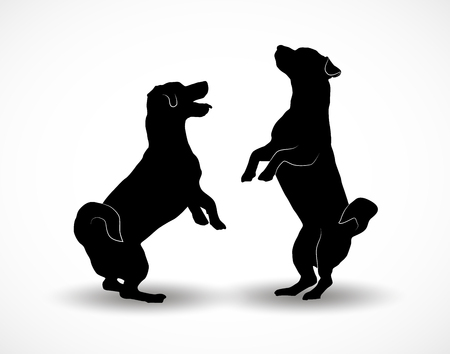 Silhouettes of two small cute dogs Jack Russell Terrier standing on hind legs, jumpimg playing or asking something. Conceptual vector illustration isolated on white background. Stock Illustratie
