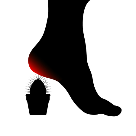 Symbol of Human foot with painful sore red heel. Cactus spines pierce the female foot. Foot health concept. Vector object isolated on white background.