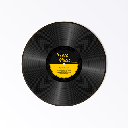 Realistic Black Vinyl Record. Retro Sound Carrier. New gramophone yellow label LP record with text. Musical long play album disc 78 rpm. old technology isolated on white background,
