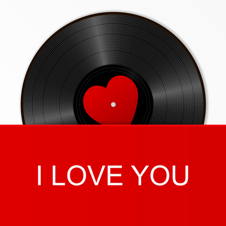 Realistic Black Vinyl Record with red heart label in a bright cover with text I love you. Retro Sound Carrier on white background.