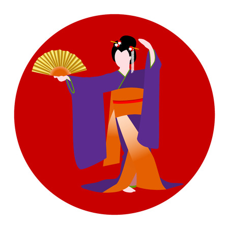 Japanese woman dressed in traditional kimono costume dancing with a fan on background with nationl country flag.