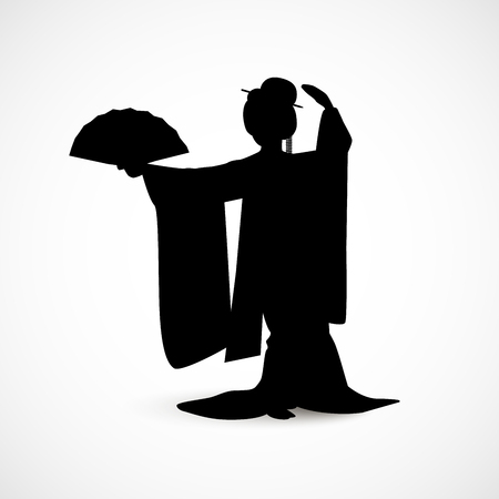 Silhouette of Japanese woman dressed in traditional kimono costume dancing with a fan isolated on white background.