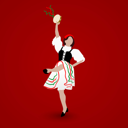 A young girl dressed in a national costume dancing an Italian tarantella with a tambourine on red background.