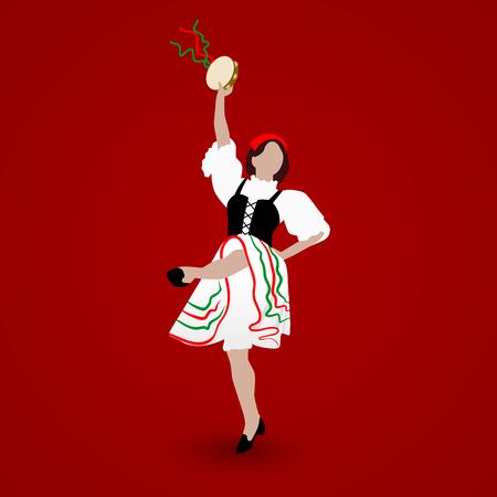Una giovane ragazza vestita con un costume nazionale che balla una tarantella italiana con un tamburello su sfondo rosso.