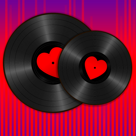 Two Realistic Black Vinyl Records with red heart labels on purple sound wave equalizer background. Retro concept of music and romance Vettoriali