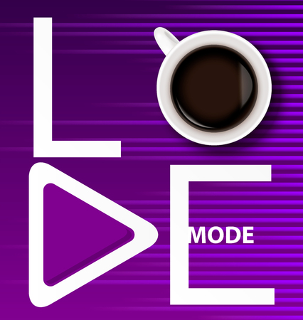 White Inscription love mode with a cup of coffee and play button on bright purple background with sound wave equalizer.The concept of love for music and coffee