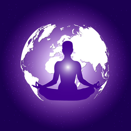 Human body in yoga lotus asana on dark blue space with planet Earth and stars background