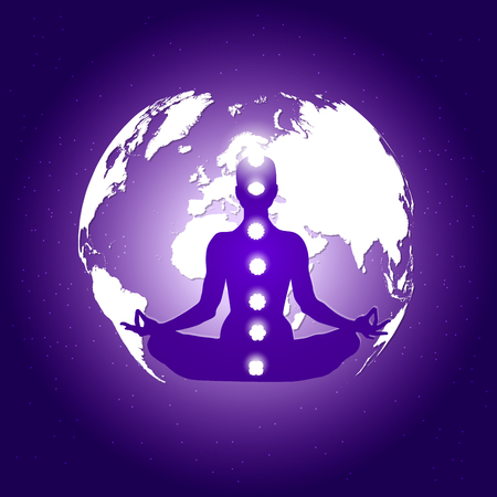 Human body in yoga lotus asana and seven chakras symbols on dark blue space with planet Earth and stars background