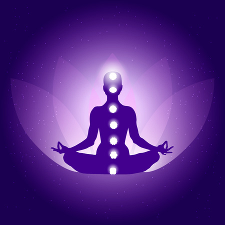 Silhouette of Person in yoga lotus asana on dark blue purple background with lotus flower and light Vector Illustration