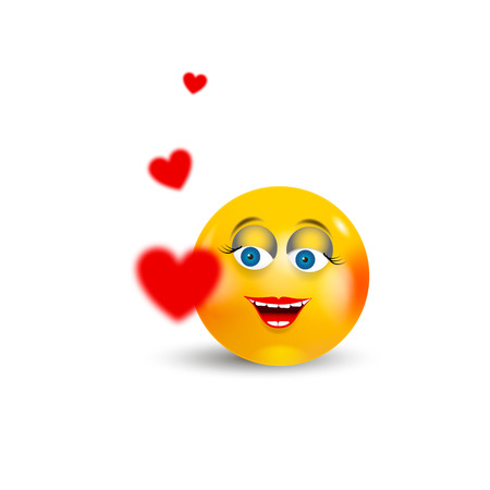 Happy Emoji Kawaii Girl Face in love with red hearts flying around. Communication Chat Elements or icon.