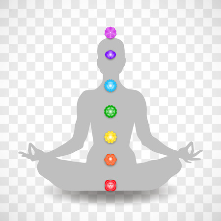 Human body in yoga lotus asana and seven chakras symbols isolated on transparent background