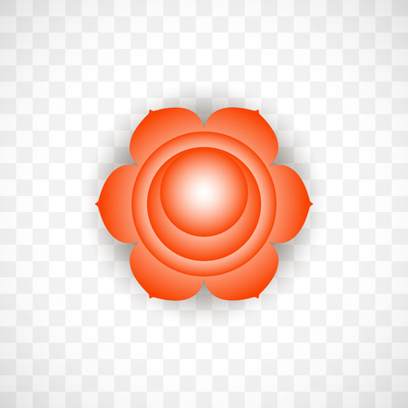 Sacral chakra Svadhisthana in Orange color isolated on transparent background. Isoteric flat icon. Geometric pattern.