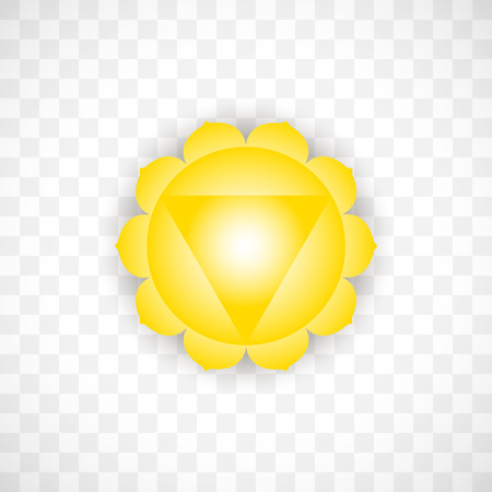 Solar chakra Manipura in yellow color isolated on transparent background. Isoteric flat icon. Geometric pattern.