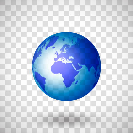 Przezroczysta niebieska planeta ziemia na przezroczystym tle. Izolowany obiekt z cieniem Ilustracje wektorowe