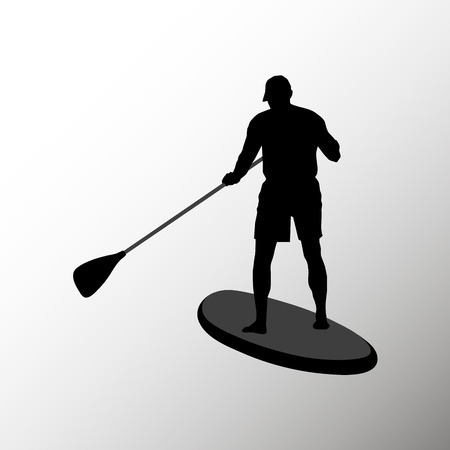 Silhouette of an Adult male Stand Up Paddling. Portrait of a man from the back isolated on white background.