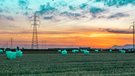 Agricultural work in a field at sunset. Equipment for forage. Film wrapping system. Round bales of feed for farm animals.
