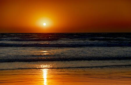 Beautiful sea on a sunset background. Sundown. Seascape.