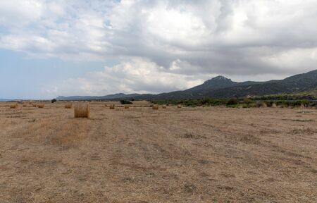 View of Northern Cyprus. The nature of the Mediterranean. A round bale of straw for animal feed. Forage for livestock. Cyprus island panorama