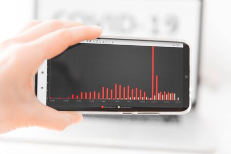 Person's hand holding mobile phone showing schedule of sick and recovered people infected with coronavirus. Breaking news on mobile phone highlighting total virus infected. World Pandemic 2020.